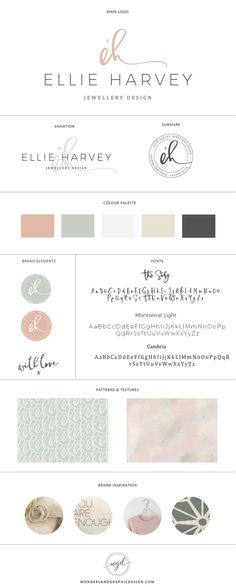 Brand style board for Ellie Harvey jewellery design | this brand design board for a jewelry business and creative female entrepreneur has logo, variation and submark, a muted blue, pink and latte color palette with gorgeous script font and serif typography. Branding includes watercolor pattern and texture and a repeated submark pattern. Click for mood board and social media branding! Wonderland graphic design.