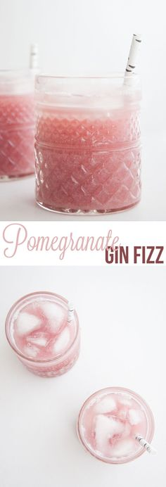 #Recipe for a homemade Pomegranate Gin Fizz with from-scratch pomegranate juice. Such a pretty pink drink, perfect for Valentine's Day and Girls Nights.