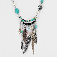 Feathers Tribal Bohemian Long Statement Necklace - Jewellery & Watches