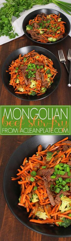 Easy, healthy, and oh-so-satisfying Mongolian Beef Stir-Fry recipe from acleanplate.com