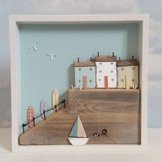 Wooden Crafts Harbour in a box, wave waiting Driftwood Projects, Wooden Projects, Driftwood Art, Wooden Crafts, Small Wooden House, Wooden Cottage, Wooden Houses, Hobbies And Crafts, Crafts To Do