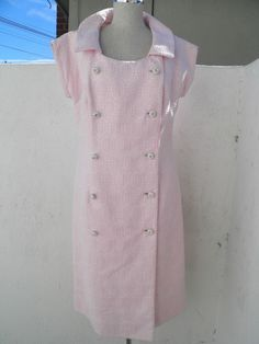 Vintage Hovland Swanson Mod 1960s Pink Dress with Rhinestone Buttons Size M/L in Clothing, Shoes & Accessories, Vintage, Women's Vintage Clothing | eBay