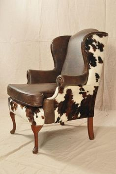 western wingback, leather and cowhide