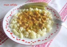 moje záľuby...: Bravčové kocky na hrášku Risotto, Macaroni And Cheese, Meat, Ethnic Recipes, Blog, Red Peppers, Mac And Cheese, Blogging