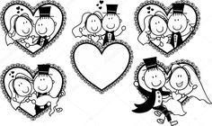 Illustration of set of isolated cartoon couple in heart shape frame, ideal for funny wedding invitation vector art, clipart and stock vectors. Wedding Tags, Wedding Boxes, Wedding Humor, Wedding Couples, Funny Wedding Invitations, Wedding Invitation Envelopes, Beautiful Wedding Invitations, Wedding Couple Cartoon, Heart Shaped Frame