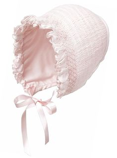Baby Girl's Smocked Bonnet in White or Pink