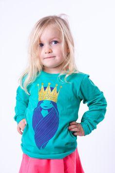 "#Danefae Northpole ""Princess"" - € 28,85 - Wikimo Kindermode, langarm Kinder Shirt, grün | wikimo.eu"