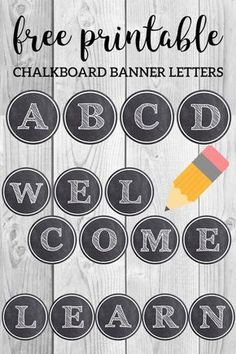 Chalkboard banner letters for back to school classroom decoration. ABC letters f… Chalkboard banner letters for back to school classroom decoration. ABC letters free printable to spell welcome back, learn, school. Chalkboard Classroom, Chalkboard Banner, Chalkboard Lettering, Classroom Door, Classroom Design, Classroom Displays, Classroom Themes, Chalkboard Drawings, Classroom Banner