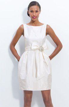Eliza J Short Jeweled Sleeveless Satin Tulip Wedding Dress Audrey Hepburn Breakfast at Tiffany Wedding Glamour