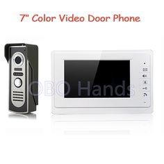7`` TFT Wired Color Video door phone Intercom video Doorbell System Kit Speakerphone intercom IR Camera door phone V70F+M2-White #Affiliate