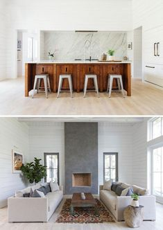 This beautiful home in a color palette of grey and white with some hints of color is designed by Charleston-based (United States) interior designer Cortney Bishop. Cortney's design vision runs the gam Lake House Kitchen, House Interior, Bars For Home, Kitchen Interior, Beach House Interior, Interior, Tiny House Interior, Kitchen Color Palettes, Bungalow Renovation
