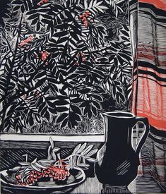✨ Г. Захарова - Рябина, 1962 г. Линогравюра. Бумага, печать. 75,5 х 65,5 ::: G. Zakharova - Rowan, 1962 Linocut on paper, 75.5 x 65.5
