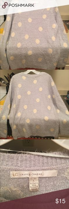 Lauren Conrad polka dot sweater soft! EUC Light blue with cream color polka dots from Lauren Conrad collection. So soft and so warm perfect for upcoming winter season. No stains or tears - offers welcomed. Retailed for 60.00 LC Lauren Conrad Sweaters Crew & Scoop Necks