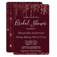 Burgundy and Rose Gold Bridal Shower Card - burgundy style stylish cyo diy customize