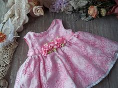Baby Girl Dress with Bloomers 0-3 Month Pink Flower Rose Spring Pastel Easter Portrait Shower Gift Toddlers Little Princess 1st Birthday