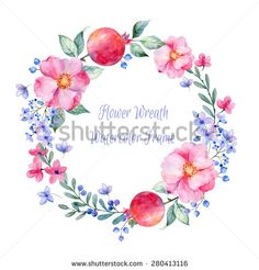 Vector round frame of watercolor roses. pomegranate and berries. Watercolor illustration wreath of flowers. Can be used as a greeting card for background, birthday, mother's day and so on. - stock vector