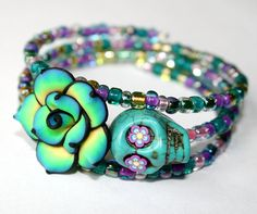 I like the polymer flower. Sugar Skull Wrap Around Bracelet Day of the Dead Turquoise Flower Zombie Colorful Rose Jewelry Memory Bracelet Rose Jewelry, Beaded Jewelry, Jewelery, Jewelry Accessories, Handmade Jewelry, Jewelry Design, Beaded Bracelets, Hippie Jewelry, Halloween Schmuck