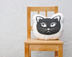 Organic Cat Pillow - Picked by Apartment Therapy - Eco-Friendly Baby Toddler Stuffed Pillow Cushion - Modern Kids Home Decor in Black White. $36.00, via Etsy.