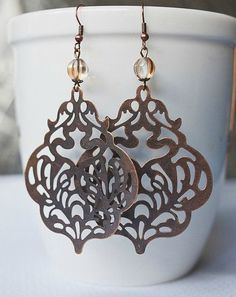 Large copper earrings, filigree
