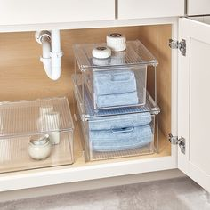 Maximize your vertical storage space with the iDesign Undersink Large Stack Box. Roomy and practical design is perfect for holding and organizing bath and kitchen items discreetly without taking up any countertop or vanity space. Under Bathroom Sink Storage, Bath Towel Storage, Under Kitchen Sink Organization, Bathroom Vanity Organization, Diy Bathroom Decor, Organizing Bathroom Closet, Organize Bathroom Countertop, College Organization, Bathroom Inspo