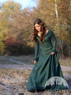 Medieval dress Autumn Princess - natural flax linen - made by ArmStreet