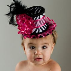 Hot Pink, Black and White Zebra Fascinator Mini Top Hat for Babies and Little Girl