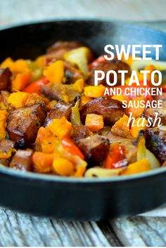 A sweet potato and chicken sausage hash recipe for breakfast the morning after Thanksgiving.