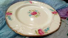 Bell Fine Bone China England Floral Pattern Bread & Butter Plate with Gold Rim by NonisVintageDelights, $17.50