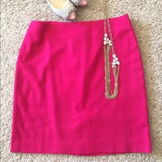 Hot pink wool skirt This is a super-cute A line, wool skirt with a back zipper and kick pleat. Fully lined. Hits me at the knee. Talbots Skirts A-Line or Full