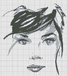 0 point de croix visage de femme monochrome  - cross stitch face of a girl