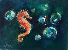 original oil painting Seahorse Ocean wildlife art listed by artist Artettina #Realism