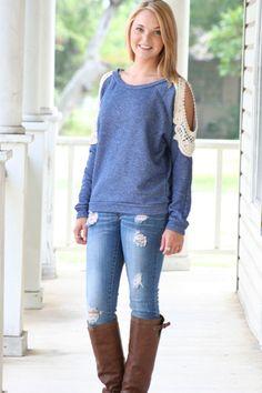Blue Lace Sweatshirt