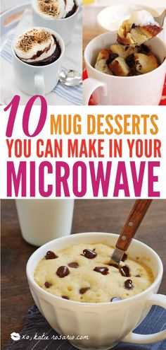Weve all been there its late on a weeknight your exhausted from your day and you have a sweet tooth craving thats raging. With these mug desserts you can have a scratch made dessert in minutes that tastes just like the real thing. Mug Dessert Recipes, Dessert In A Mug, Köstliche Desserts, Health Desserts, Gourmet Recipes, Delicious Desserts, Healthy Recipes, Healthy Baking, Coffee Dessert
