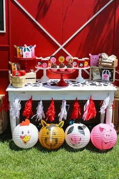 Farm 1st Birthday Party -Red and White Tassel garland, Farm Animal Paper Lanterns & Western themed party props.