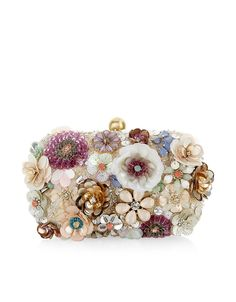 Accessorize Womens Summer Floral Hardcase Clutch Bag Decorated with crystal gem, sequin and bead-embellished flowers, and a gold-tone metal clasp, this Beaded Clutch, Beaded Purses, Beaded Bags, Summer Handbags, Purses And Handbags, Summer Purses, Floral Clutches, Sequin Clutches, Flower Bag