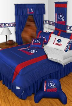 (Click to order - $109.99) NFL New York Giants Comforter Set 3 Pc Queen Full Bedding From store51