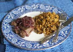Paleo-friendly venison steak and cauliflower couscous with pine nuts and currants and a side of red onion compote.