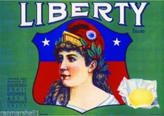 Escondido CA, Liberty Brand fruit crate label