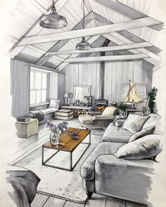 Living Room in a Cottage. Interior Design Sketches a Source of Inspiration. By Matveeva Anna.