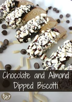 Craving something sweet during your coffee break? Make a batch of Chocolate and Almond Dipped Biscotti!