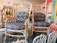 Rattan FRETWORK Wing Chairs for the Family Room:)