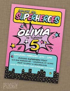 PRINTABLE Superhero Birthday Party Invitation by BrownCowCreatives