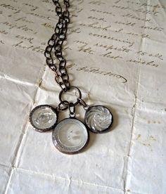 Three antique Czech glass buttons
