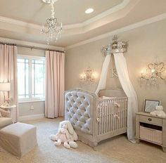 15 Cutest Baby Girl Nursery Room Ideas (pink & girly) Every mother dreams about decorating her baby girls' nursery. When you think of a baby girl nursery room most people think pink and girly. Today, that's exactly what I'm going to give you. Baby Nursery Decor, Baby Bedroom, Baby Decor, Girls Bedroom, Baby Rooms, Elegant Baby Nursery, Nursery Room Ideas, Royal Nursery, Baby Room Curtains
