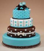 Chocolate brown and blue polka dot wedding cake - weird but kinda cool