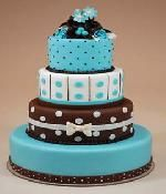 Chocolate brown and blue polka dot wedding cake - weird but kinda cool