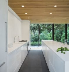 Can't argue with the view from this crisp clean white kitchen. LM Guest House by Desai/Chia Architecture