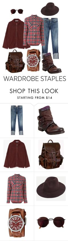 """""""not only boyfriend's jeans"""" by stilvoll ❤ liked on Polyvore featuring Current/Elliott, A.S. 98, MANGO, AmeriLeather, R13, Nemesis, Ray-Ban, plaid and WardrobeStaples"""