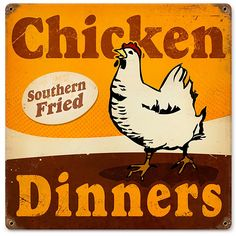 Chicken Dinners Southern Vintage Country Kitchen Metal Sign 12 x 12 - Add some southern style to your kitchen with our chicken dinners sign! Antiqued sign is made of heavy gauge American steel, features 4 pre-drilled holes for easy hanging, and measures 12W x 12H inches.