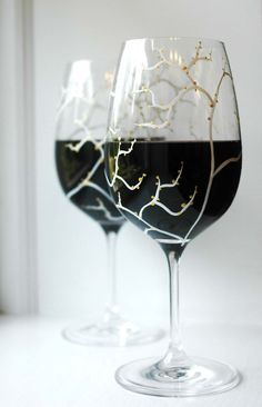 Festive White Tree and Gold Leaf Holiday Wine Glasses by Mary Elizabeth Arts $35.00